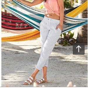 ATHLETA Herringbone Linen Crop Pants Stripe
